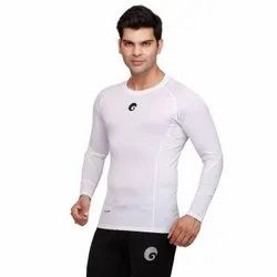 Lycra Cotton Full Sleeves White Compression Top Mens T-Shirt
