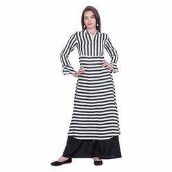 Black and White Lining Crepe Kurti