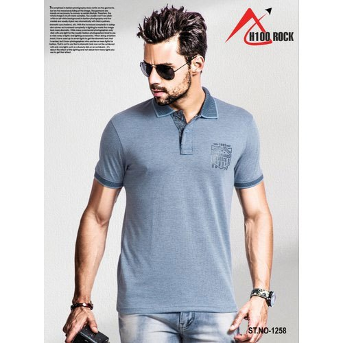 H100 Rock Cotton Mens Collar Neck Half Sleeve T Shirt