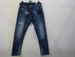 Mens Dark Blue Straight Fit Stretch Jeans(PW - 010)