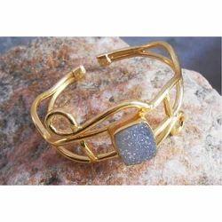 Handmade Gold Plated Brass Druzy Gemstone Bangles