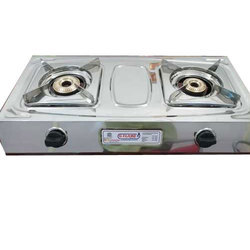 G Flame Silver LPG 2 Burner Gas Stove, For Kitchen
