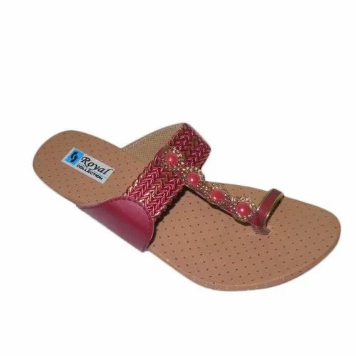 Casual Wear Dot Print Ladies Beaded Slipper, Size: 5-8