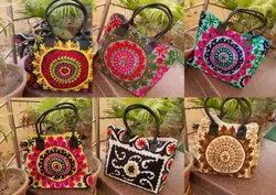Cotton Canvas Casual Wear Embroidered Ladies Fashion Handmade Bags