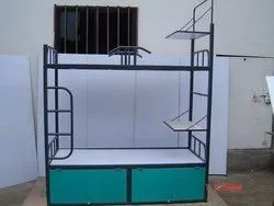 Mild Steel And Plywood. Brown Bunk Bed With Full Storage,