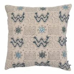 Embroidery Accent Grey White Cotton Cushion Cover