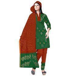 Green Bandhej Print Suit