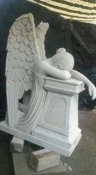 Handmade Marble Angel Girl Statue