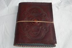 Vintage Leather Embossed Journal with Stone