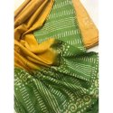 Casual Wear Green And Yellow Ladies Printed Cotton Saree, 6.5 M With Blouse Piece