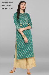Multicolor Girl Cotton Printed Kurta, Age Group: Adults