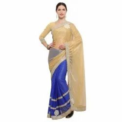 Golden Colored Knitted Jacquard Party Wear Saree