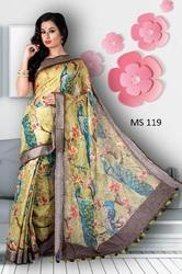 Digital Print Linen Saree With Indian Peacock Pattern