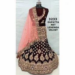 Unstitched Velvet and Net Wedding Bridal Lehenga Choli, Packaging Type: Packet