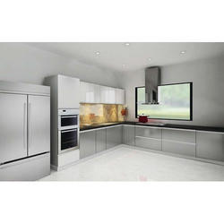 Gloss Finish L Shape Modular Kitchen