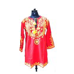 Embroidered Red and Yellow Ladies Straight Kurti, Size: S, M and L