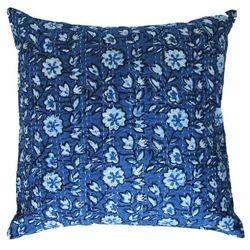 Indigo Blue Hand Block Printed Kantha Cushion Cover