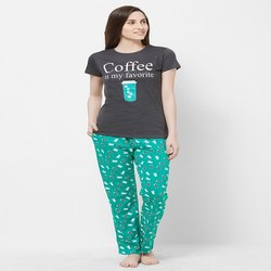 Grey And Turquoise hosiery Evolove Womens Pajama T Shirt Sets, T-Shirt, Packaging Type: Pvc Hanger Packing