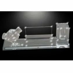 Glass Mirror Pen Stand