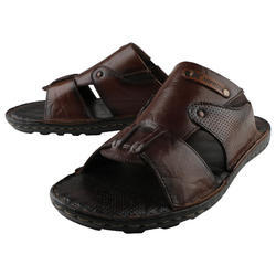 Black AndBrown Genuine Leather Slippers, Size: 6,7,8,9,10