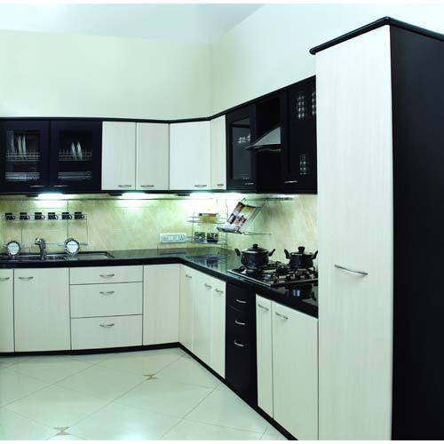 Modular Kitchen Solutions: Black And White Modern L Shape Modular Kitchen, Rs 1800