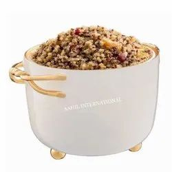 Round Dinning Bowl Enamel With Brass Entangle Handle