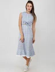 Blue Plain Women Western Dresses Photography