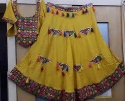 Stitched Rayon Patch Work Garba Chaniya Choli, 2.5 M