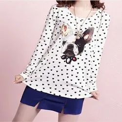 Cotton Full Sleeves Womens Printed Top