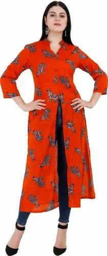 3/4th Sleeve Ladies Mandarin Collar Printed Kurtis, Size: L