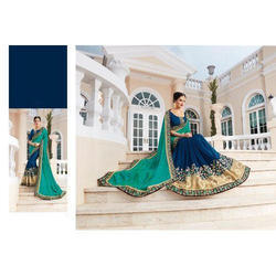 Georgette Embroidered Heavy Saree with Blouse Piece