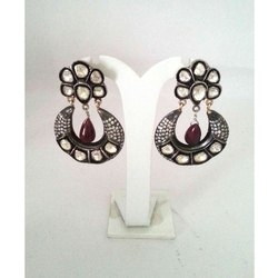 Silver Polki Studded Earring