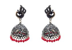Glamoura GJGE-14 Traditional Trendy Oxidized German Silver Designer Earrings