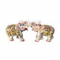 Marble Elephants Pair