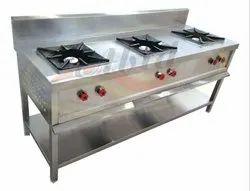 LPG 3 Burner Indian Cooking Range, For Commercial