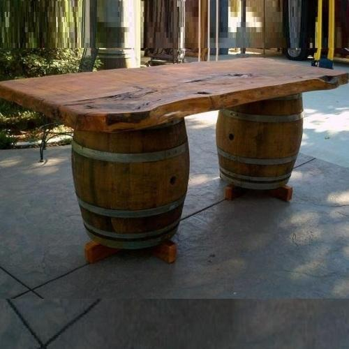Wine Barrel Console Table With Live Edge Top लकड क
