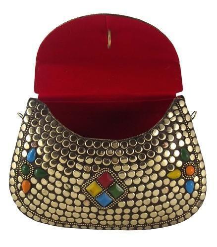f3a37a52bd9c3 Stunning Handmade Brass Metal Purse Clutch Evening Bag, गोल्ड ...