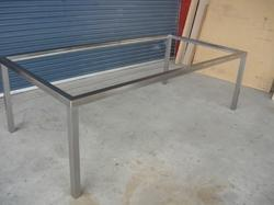 Silver Stainless Steel Table Frame, Size: Custom