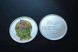 20 Gm. Coloured Radhe Krishna Silver Coin