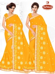 Party Wear Georgette & Diamond Work Saree - Jhalaki