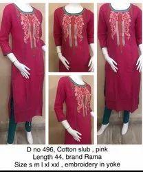 Pink, white Embroidered Cotton Kurti