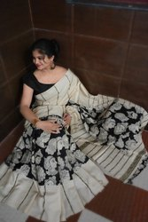 Beautiful Handloom Linen Chanderi Sarees