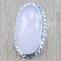 Rose Quartz Gemstone Jewelry 925 Solid Silver Ring