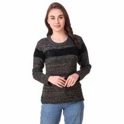 Black Woolen Stripe Top