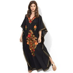 Full Length Lycra Kaftan Embroidered Night Wear