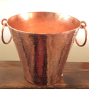 Hammered Copper V Shape Bucket With Insert