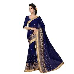 Blue, Golden Georgette Ladies Designer Saree