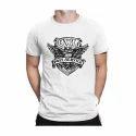 Men's White Printed T Shirt