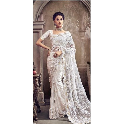outlet pretty cool running shoes Off White Net Saree With Banglori Silk Blouse