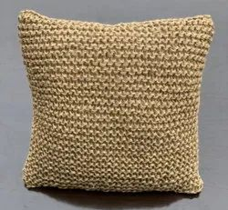 NATURAL HAND KNITTED JUTE CUSHION, For Home, Size: 45x45 Cm, 18x18